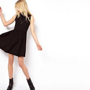 ASOS High Neck Black Skater Mini Dress
